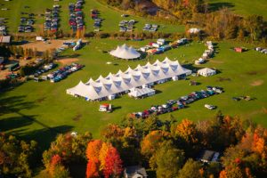 Aerial view of event tens, Stowe, Vermont, USA