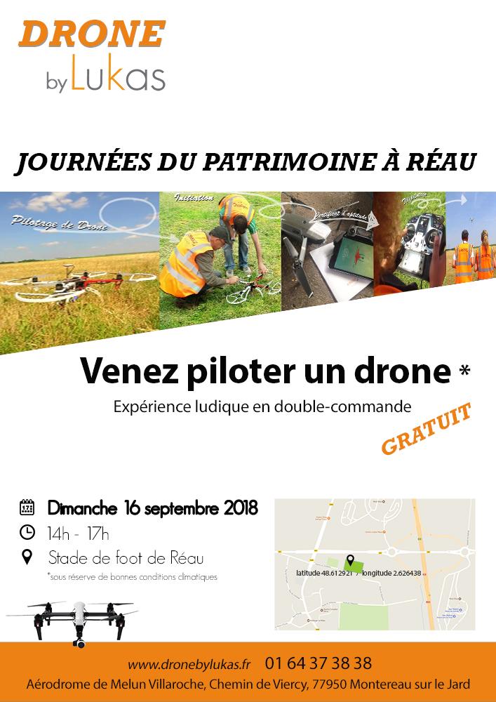 Affiche drone journée patrimoine à Réau 2018